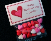 Personalized Valentine Party Favor Bag Toppers, red heart, set of 10, includes bags