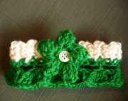 Green Crochet Dog or Cat Collar - St. Patricks Day