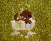 Embroidered Dog Bath / Spa Towel - Puppy Bathing Towel - Bright Lime Green