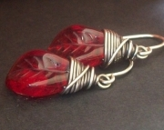 Red Glass Leaves - Earrings