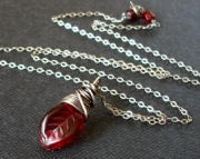 Red Glass Leaf- Necklace