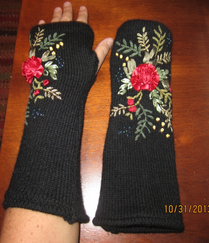 Fingerless Black With Silk And Embroidered Flowers Felted Wool