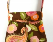 Brown and Pink Floral Bag