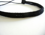 Double Strand Black Rope Headband