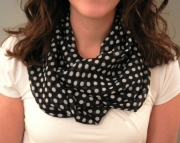 Black and White Polka Dot Infinity Scarf