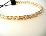 Gold and White Braided Headband