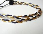 Blue, White, and Gold Braided Headband