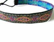 Black, Blue, Gold and Pink Tapestry Headband