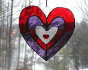 Large glass Heart with Bead
