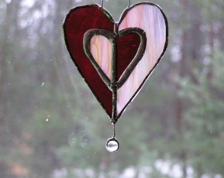Glass Heart W/crystal Bead