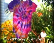 Tie dye onesie, custom listing by Addiction to Color