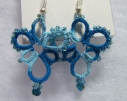 Two Toned Blue Tatted Earrings