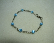 Bronze with Blue Cat Eye Beads Bracelet