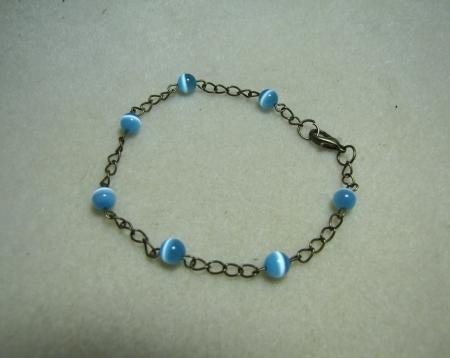 Bronze with Blue Cat Eye Beads Bracelet