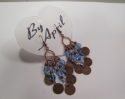 Brass and Blue Earrings