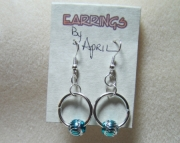 Silver Earrings with Blue Aluminum Bead