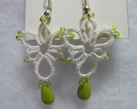 White and Lime Green Tatted Earrings