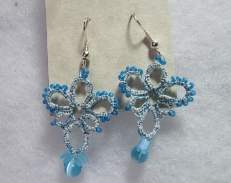Blue and White Tatted Earrings