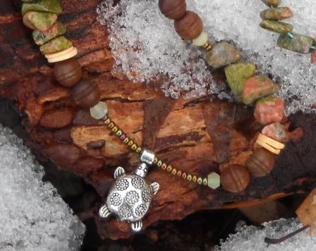 Flower Turtle Necklace