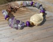 Fluorite/Baby Bone Turtle Bracelet