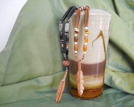 Eagle Feather in Copper/Buffalo Bone/Horn