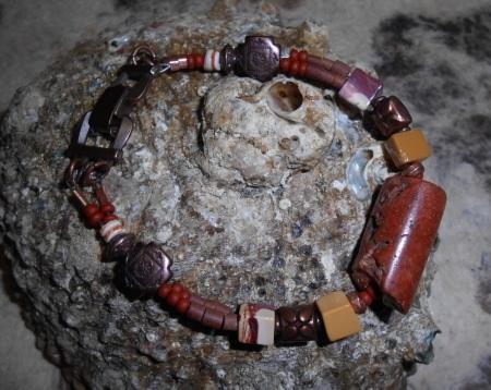 Earthy Pipestone/Copper Bracelet