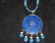 Moonstone/Blue Shield Infinity Necklace