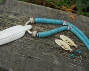 Eagle Feather/White Bone/Turqoise Heishi