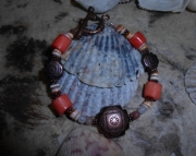 Four Directions/Coral/Copper Bracelet