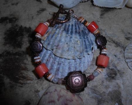 Four Directions/Coral/Copper Bracelet