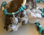 Turtle/Flowers & Turquoise Necklace