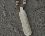 Eagle Feather Bone/ Coffee-Stained/Stone Necklace