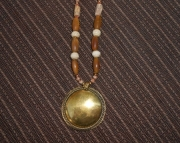 Buffalo Horn/Antiqued Brass Shield Necklace