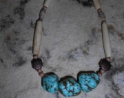 3 Turquoise Nuggets/buffalo Bone Hairpipe Beads