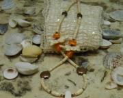 Eagle Feather/Bone & Turtles/Orange Coral Necklace