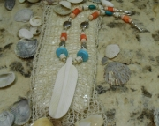 Eagle Feather/ White Carved Bone- Necklace