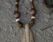 Eagle Feather-Coffee-Stained Bone Pendant & Tigereye