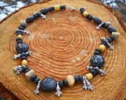 Tribal Lava & Amber Necklace