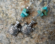 Turquoise Slabs/turtle Earrings