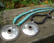 Large Silver Shield/Turquoise Necklace