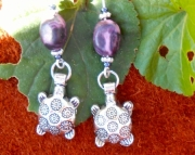 Purple Magenta Turtle earrings