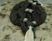 Eagle Feather White Carved Bone & Black Heishi