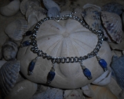 Electric Blue Lapis Lazulli/ Chain/Jade
