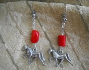Red Coral Horse Earrings