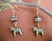 Brass Saddle Horse Earrings