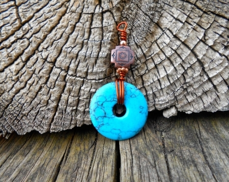 Turquoise/Copper Four Directions Bead