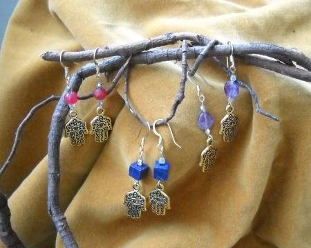 Hamsa Hands and Gemstone Earrings