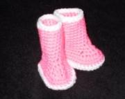 Newborn Hot Pink and White Rainboot Booties