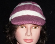Mauve and Cream Striped Cozy Cap