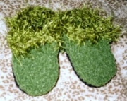 Olive SuedeGlitter Fun Fur Baby Slippers